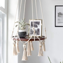 Hanging Shelf Macrame Plant Hanger Flower Pot Holder Boho Home Decor (With Wood Plate)