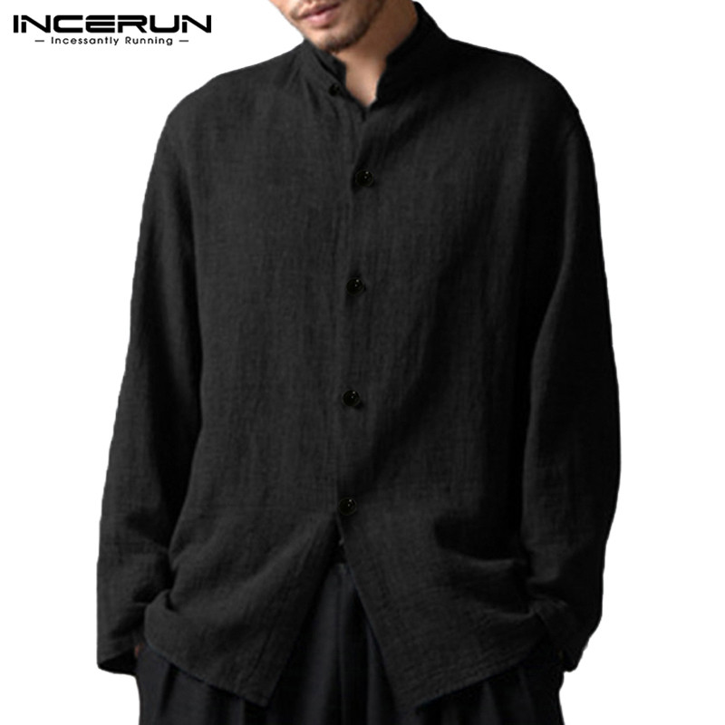 INCERUN 2018 Mens Shirt Long Sleeve Stand Collar Loose Cotton Shirts Vintage Shirt 5XL Social Men Clothing Camisa Masculina Tee