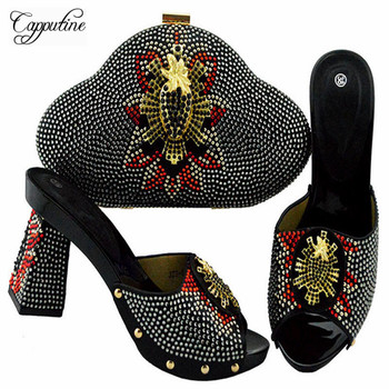 Capputine High Quality legant Ladies Shoes And Bags To Match Set Italian Shoes With Bags Nigerian Women Wedding Slipper Shoes
