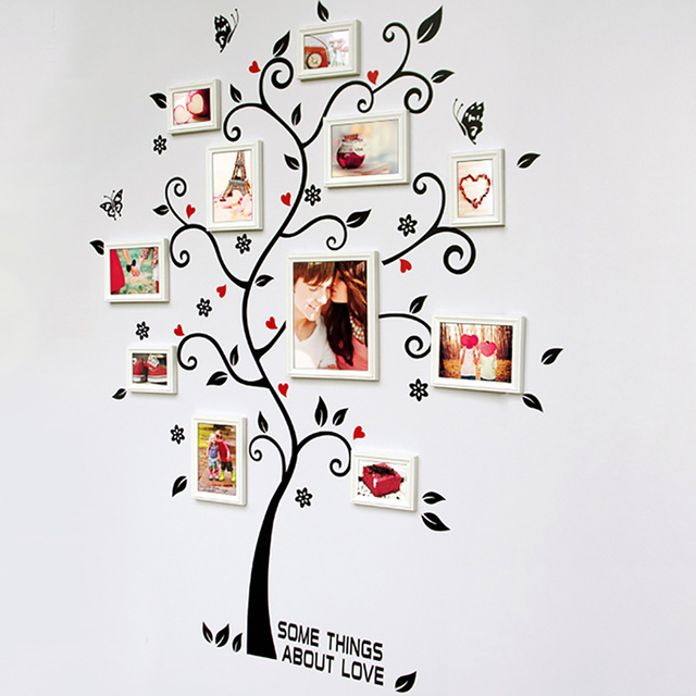 Family Tree Photo Frame Removable Wall Sticker Love Tree Living Room Sofa Vintage Poster Craft Home Decoration