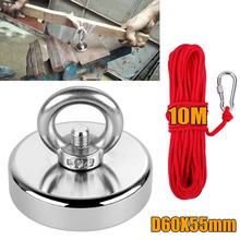 1pc 110KG 60*55mm Recovery Magnet with Ring Fishing Treasure Hunting Metal Detector Powerful Magnet +10M Rope Red Neodymium iron 1pc 300kg vertical pull force strong neodymium fishing magnet with rope super powerful salvage recovery metal treasure hunting
