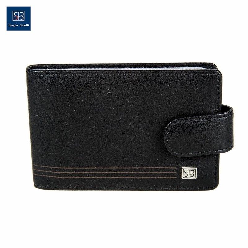 Business Card Holder Sergio Belotti 2346A West black short genuine leather cowhide men wallet business card coin money male purse card holder