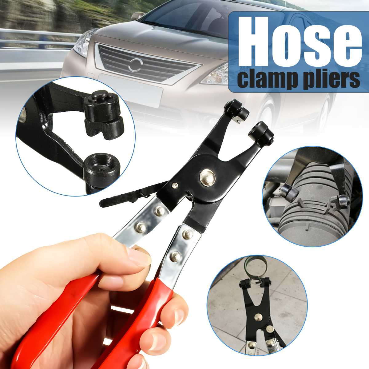 Automobile Removal Tool Flat Ring Type Hose Clamp Pliers Mechanics Engineer Thicker Double Dipped Handles
