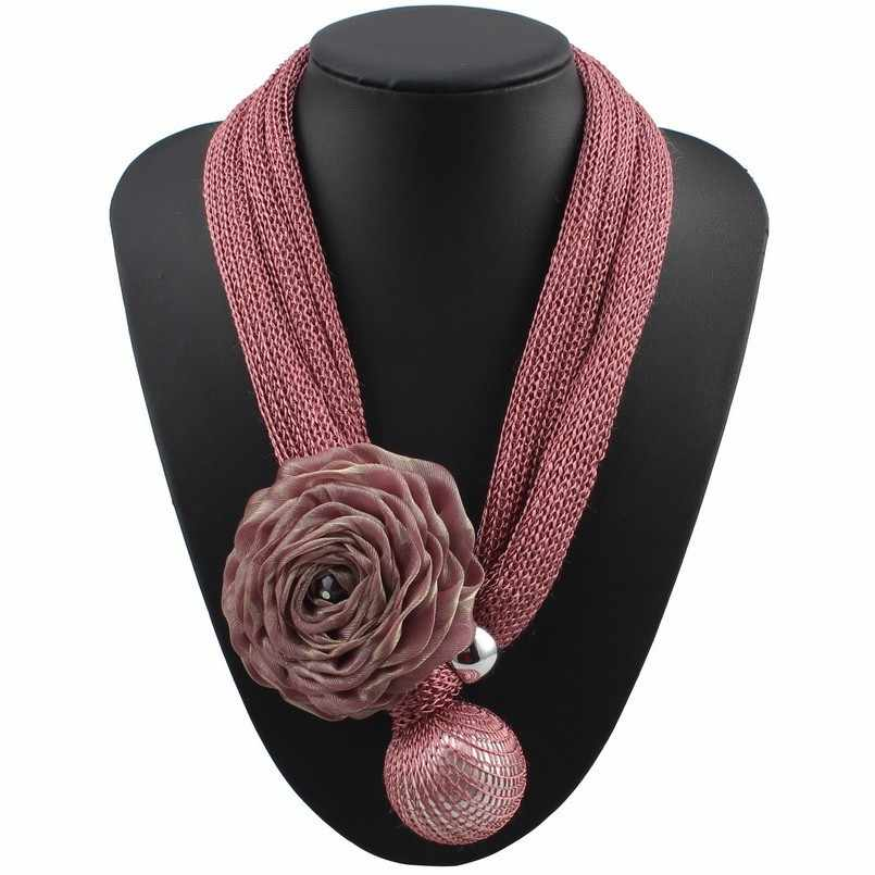 Florosy Bib Rope Chain Handmade Statement Big Flower Pendant Necklace for Women Fashion New Long Bead Simulated Pearl Jewelry