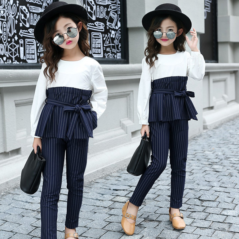 School Kids Striped Outfits Ruffle Shirts & Pants Suits Girls Clothing Sets Autumn Patchwork Teen Clothes For Girls Sets 2019