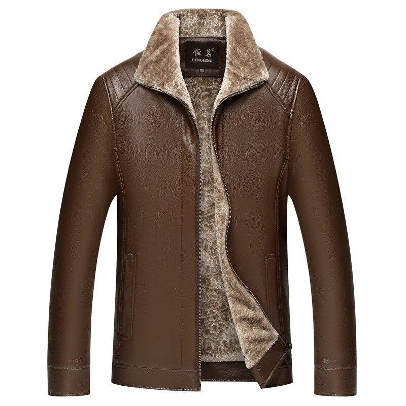 #3627 Winter Warme Fleece Jacke Casual Dicken Faux Leder Pu Windbreaker Parka Mantel Outwear Klassische Mittleren Alters Papa Plus Größe 4xl Warm Und Winddicht