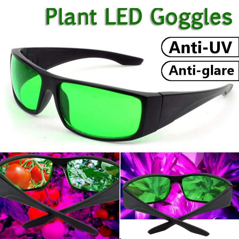 Eye Protect GlassesLED Grow Room Glasses Anti-glare Anti-UV Green/Blue Lens Glasses For Tent Greenhouse Hydroponics Plant Light