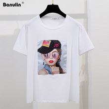 Banulin White Female T-shirt 2019 T Shirts Summer Novelty Tee Shirt Short Sleeve Print Women Cotton O-Neck Tops Tees