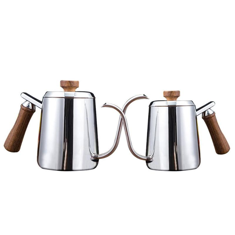 350600ML:  350/600ML Stainless Steel Teapot Drip Coffee Pot Heat-resistant Wood Handle Long Spout Kettle Cup Coffee Pots Coffeeware - Martin's & Co