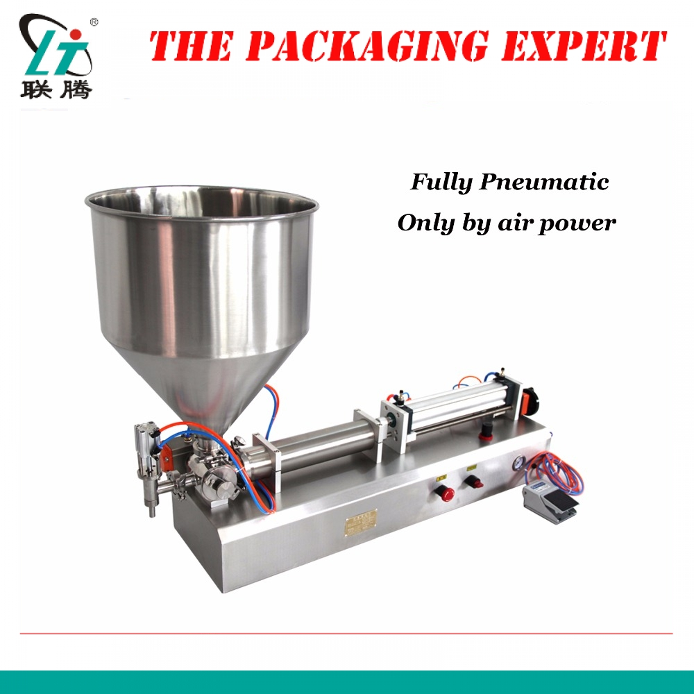 Fully Pneumatic Paste Filling Machine Pneumatic With Single Cylinder Piston Shampoo Cream Sauce Lotion Oil Filler Free Shipping