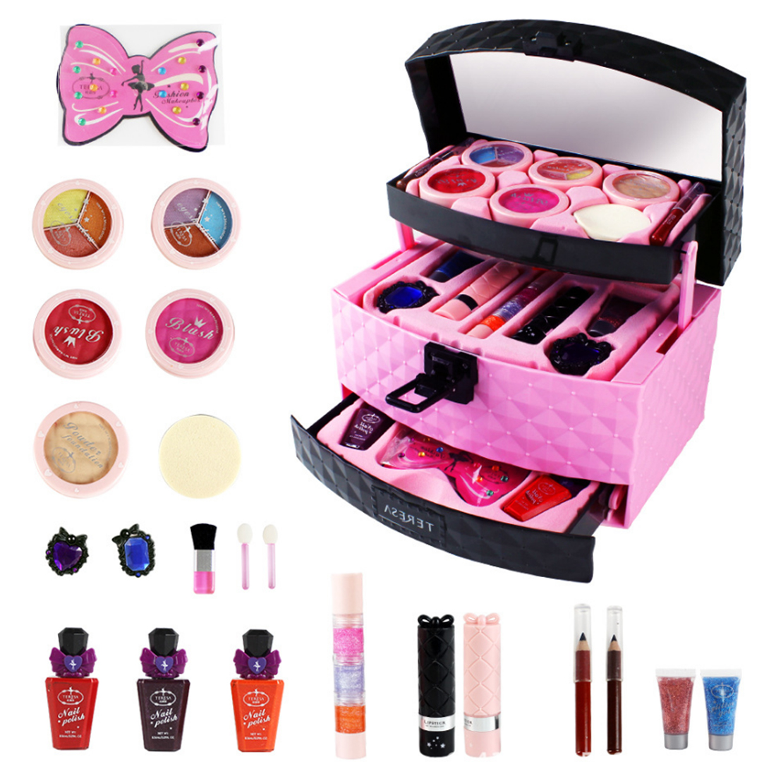 Makeup Toys Baby Girls Children Pretend Play Toys Little Princess Set Case Cosmetic Makeup Kit Play Sets Gifts For Children Kids