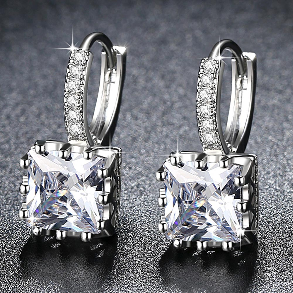 Romantic Ladies Exquisite Square CZ Earrings Silver Jewelry 5 Colors Exquisite Zircon Earrings Ladies Exclusive Declaration Gift
