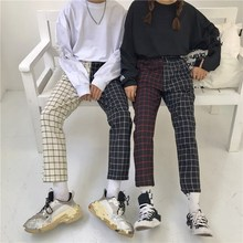 Vintage Patchwork Paid Pants Straight Mid Harajuku Women Trousers Korean Causal Elastic Waist