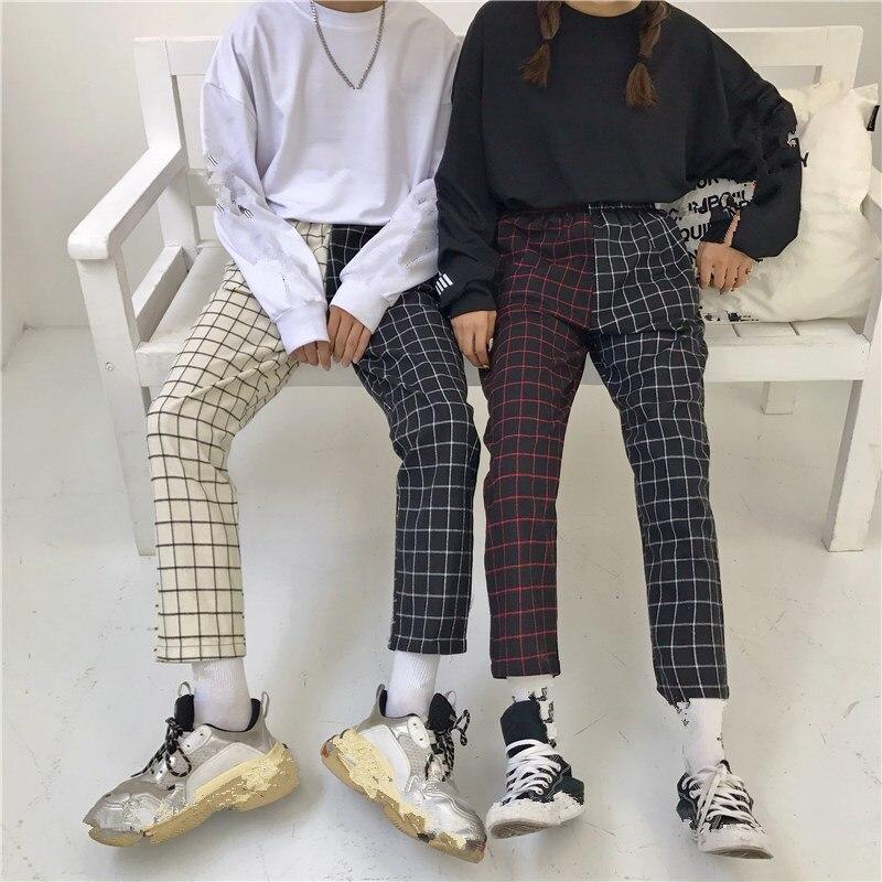 Vintage Patchwork Paid   Pants   Straight   Pants   Mid Harajuku Women Trousers Korean Causal Elastic Waist   Pants