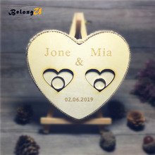 1pcs Custom Wood Heart Ring Pillow Personalized Wedding Rustic Name and Wedding Date Ring Bearer Holder Wedding Party Decoration цены