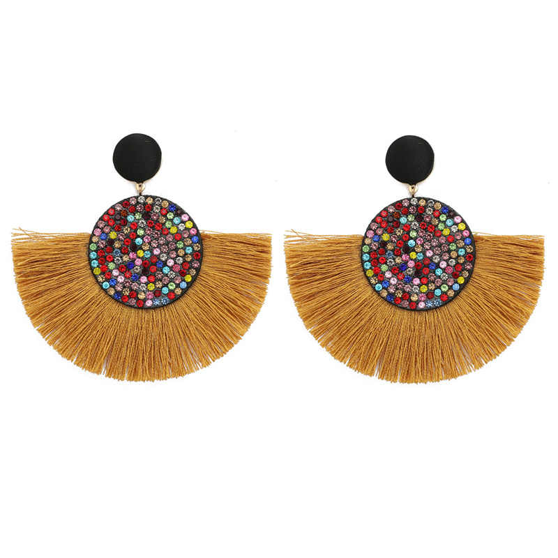 Exaggerated large tassel fashion earrings 2019 geometric fan pendant eardrop bohemian glamour crystal woman jewelry earrings