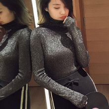 Ladies Sweaters Shiny Lurex Turtleneck Sweater Female Knit Winter Warm Korean Fashion Red Sweater Women Turtleneck Pullover Tops(China)