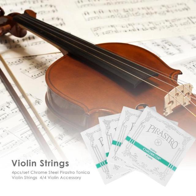 4pcs/set E/A/D/G string Chrome Steel Pirastro Tonica Violin Strings for 4/4 Violin Accessories Green Silver