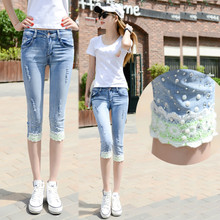 Summer Casual Women Jeans Fashion Capri Skinny Jeans For Woman Ripped Hole Stretch Lace Patchwork Denim Capri Pants white floral lace patchwork denim jeans