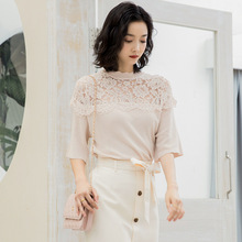 French retro sweet summer lady sweater hollow out lace stitching knitting shirt women YD213