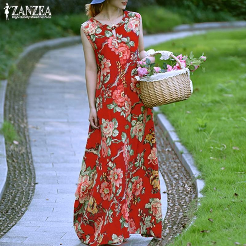 2019 Summer ZANZEA Women Floral Print Long Maxi Dress Ladies Sundress Sexy Sleeveless Kaftan Robe Femme Vintage Womens Vestidos