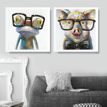 Smart Animal Frog Pig Cat Dog Decor Canvas Posters Modern Wall Art Prints Painting Fashion Fantasy Wall Pictures Home Decoration(China)