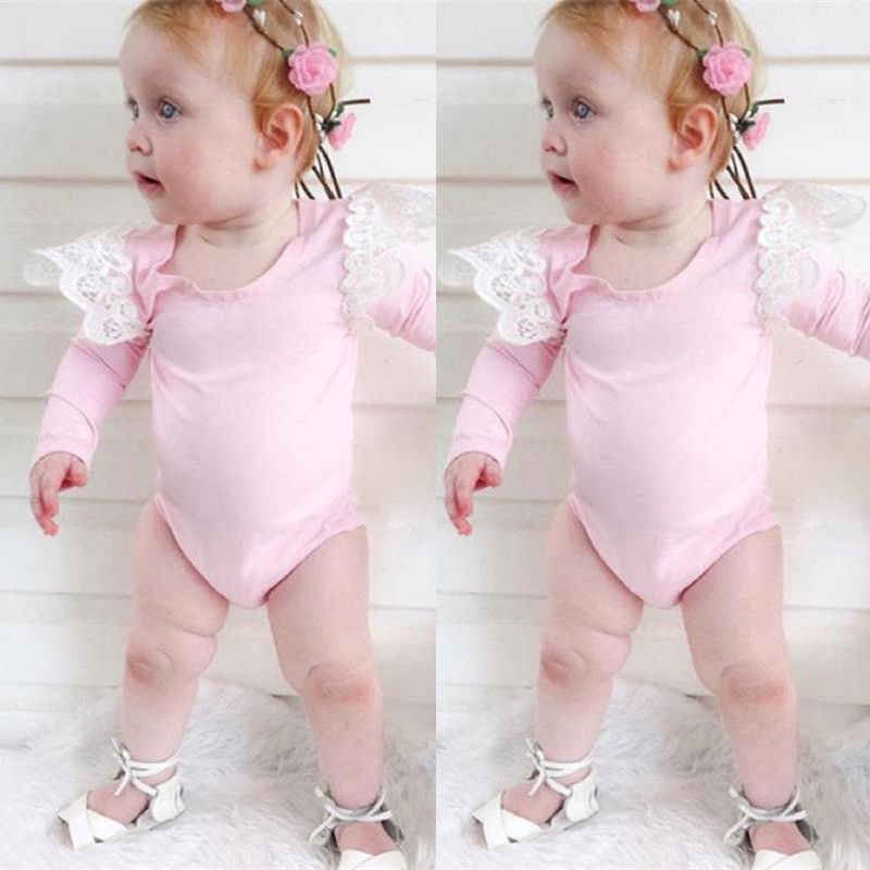 2019 Новый брендовый комбинезон с длинными рукавами для новорожденных девочек, однотонный кружевной комбинезон на плечо, весенне-осенняя одежда