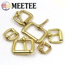 Meetee 5pcs Pure Copper Belt Buckle Roller Pin Buckle Brass Square Pin Buckle Belt Pure Copper Bag Buckle BD014