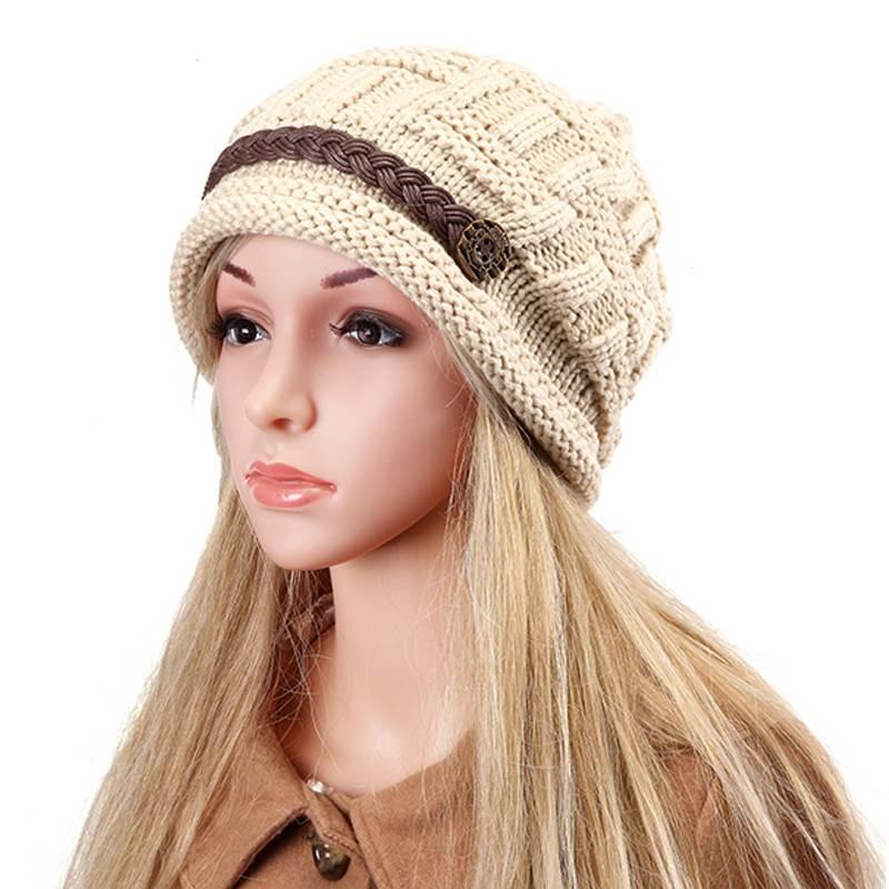 100% Wahr Frauen Tasten Zöpfe Decor Gestrickte Mützen Winter Frauen Hut Toca Ski Kappe Neue Mode Stricken Häkeln Baggy Beanie Hut Für Weibliche