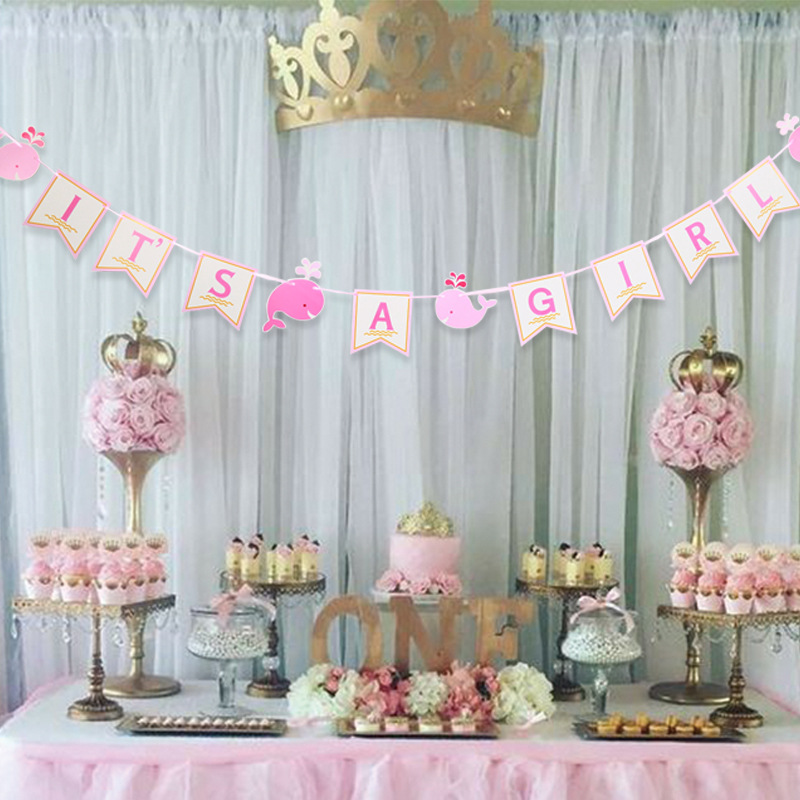 IT/'S A GIRL BUNTING PINK HANGING DECORATION PARTY SUPPLIES