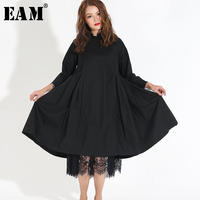 [EAM] 2018 Autumn Fashion Trend New Korean Lace Hem Solid Fold Stitch Long Sleeve Two Piece Dress Temperament Woman Y13100