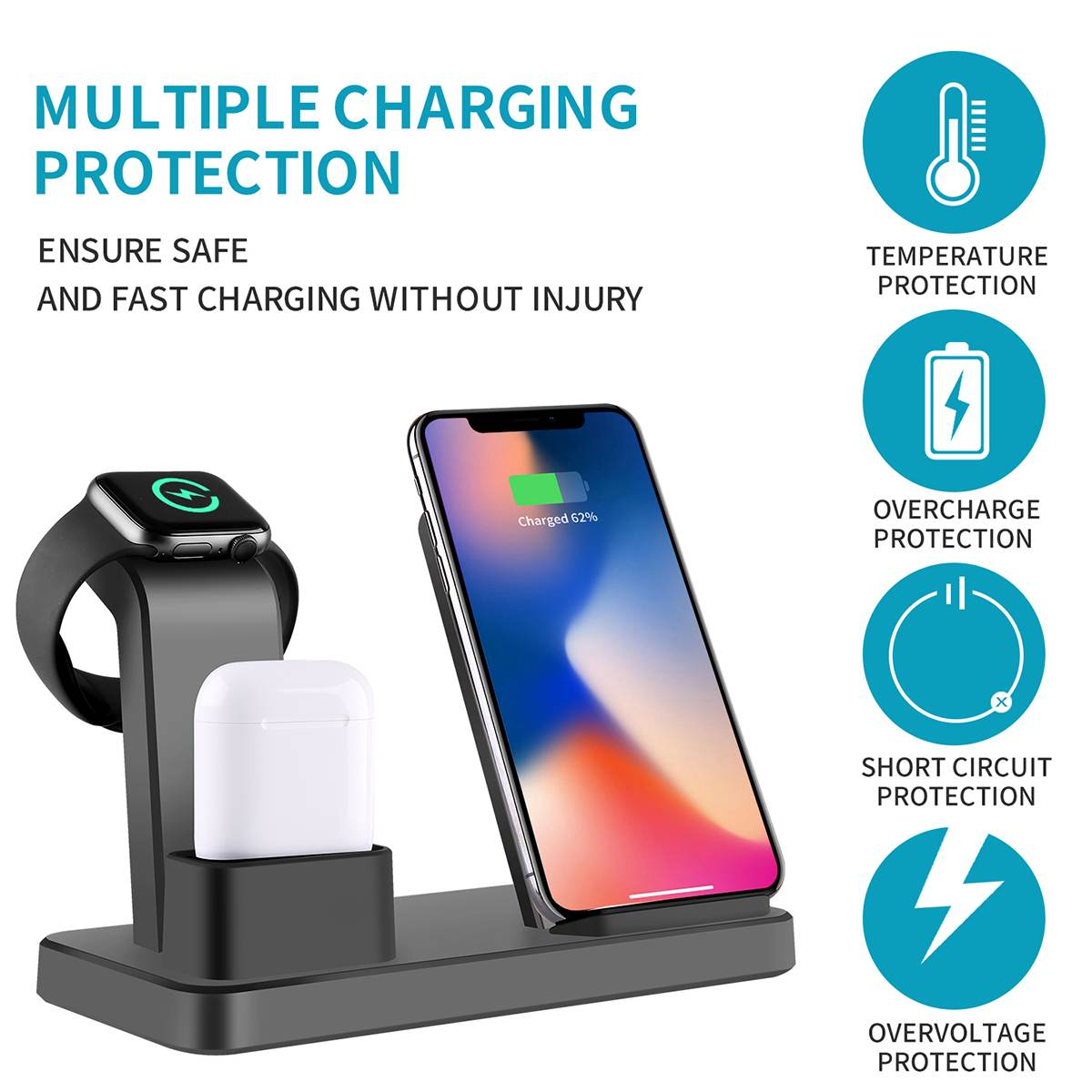 3in1 10W Qi Wireless Charger for Airpods Charger For Iphone XR XS 8 X Fast Charging For Apple Watch 4 3 2 Charger Stand Holder3in1 10W Qi Wireless Charger for Airpods Charger For Iphone XR XS 8 X Fast Charging For Apple Watch 4 3 2 Charger Stand Holder