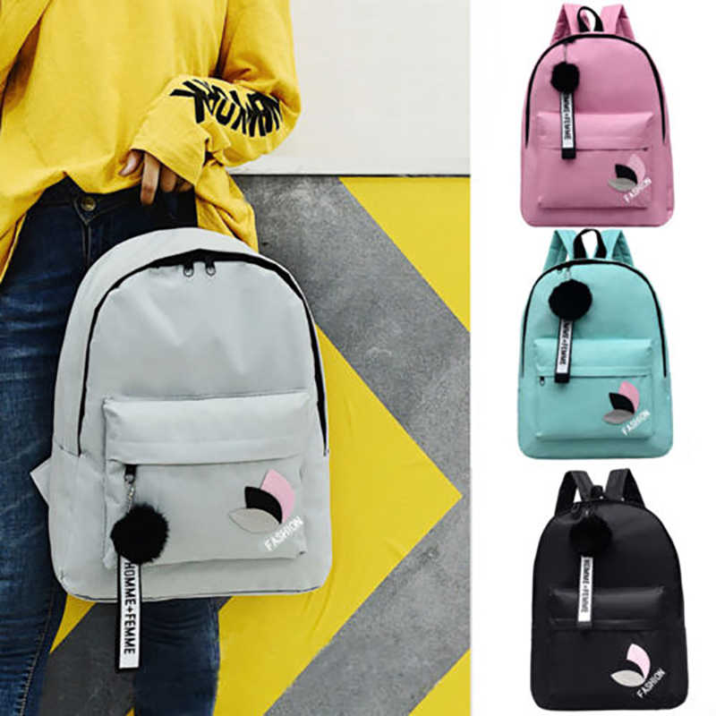 Men Women Travel Canvas Backpack Rucksack Camping Laptop Hiking School Book  Bag Hairball Letter Ladies Fashion 54c27a47561cf