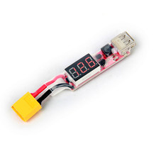 RC Toys Parts 2S-6S Lipo Battery Voltage Checker Tester XT60 Plug to USB Power Converter Charger Adapter w/LCD Display(China)