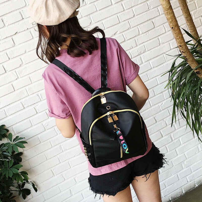 2019 nueva mochila Casual para mujer, mochila negra impermeable de Nylon para niñas adolescentes, mochila de alta calidad de viaje de moda