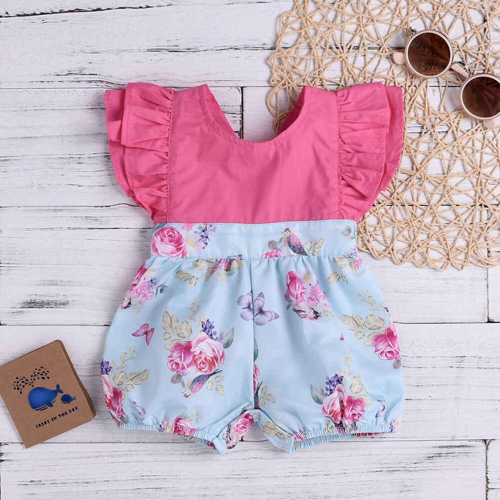 8c44238ea15 ... Pudcoco 2019 Summer Infant Toddler Baby Girls Floral Romper Patchwork Jumpsuit  Sunsuit Set Cute Clothes