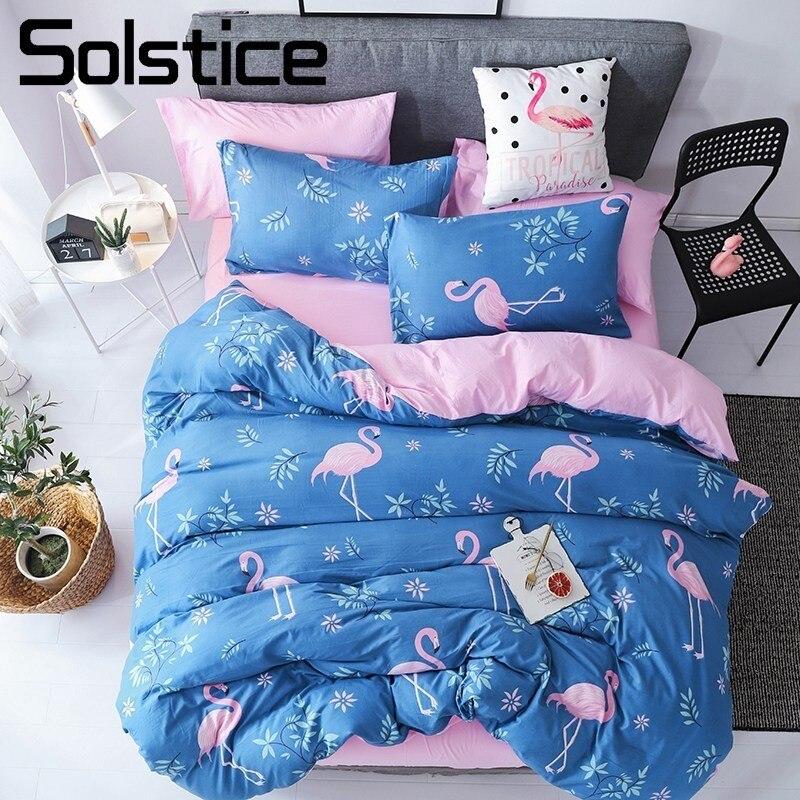 Solstice maison Textile ensembles de literie roi housse de couette complète taie d'oreiller drap plat bleu flamant rose fille enfant adolescent femme linge de lit