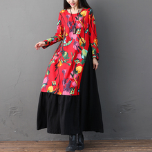 Spring Autumn Women Vintage Floral Printed Party Dresses Casual Elegant O-neck Long Sleeve Cotton Linen Dress Vestido цена