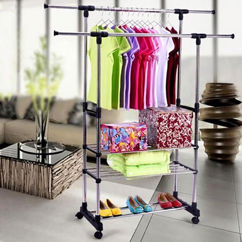Stainless Steel Clothing Garment Floor-standing Drying Rack Clothes Storage Shelf Coat Stand Rack Folding Shoe RackStainless Steel Clothing Garment Floor-standing Drying Rack Clothes Storage Shelf Coat Stand Rack Folding Shoe Rack