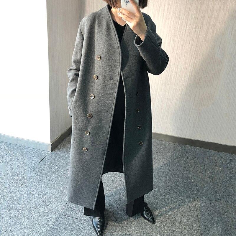 Manches Hiver eam Les Grey Manteau Montant Boutonnage Double À Longue Unie Femme taille Le247 Et Couleur Sélections dark Large Printemps Black 2019 Toutes Longues Col qEEzCwp