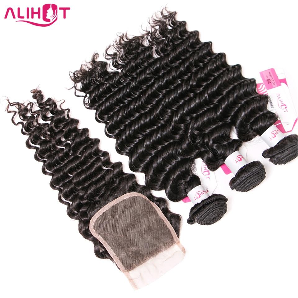 Ali Hot Hair Deep Wave Bundles With Lace Closure Brazilian Human Hair Bundles With Closure Remy