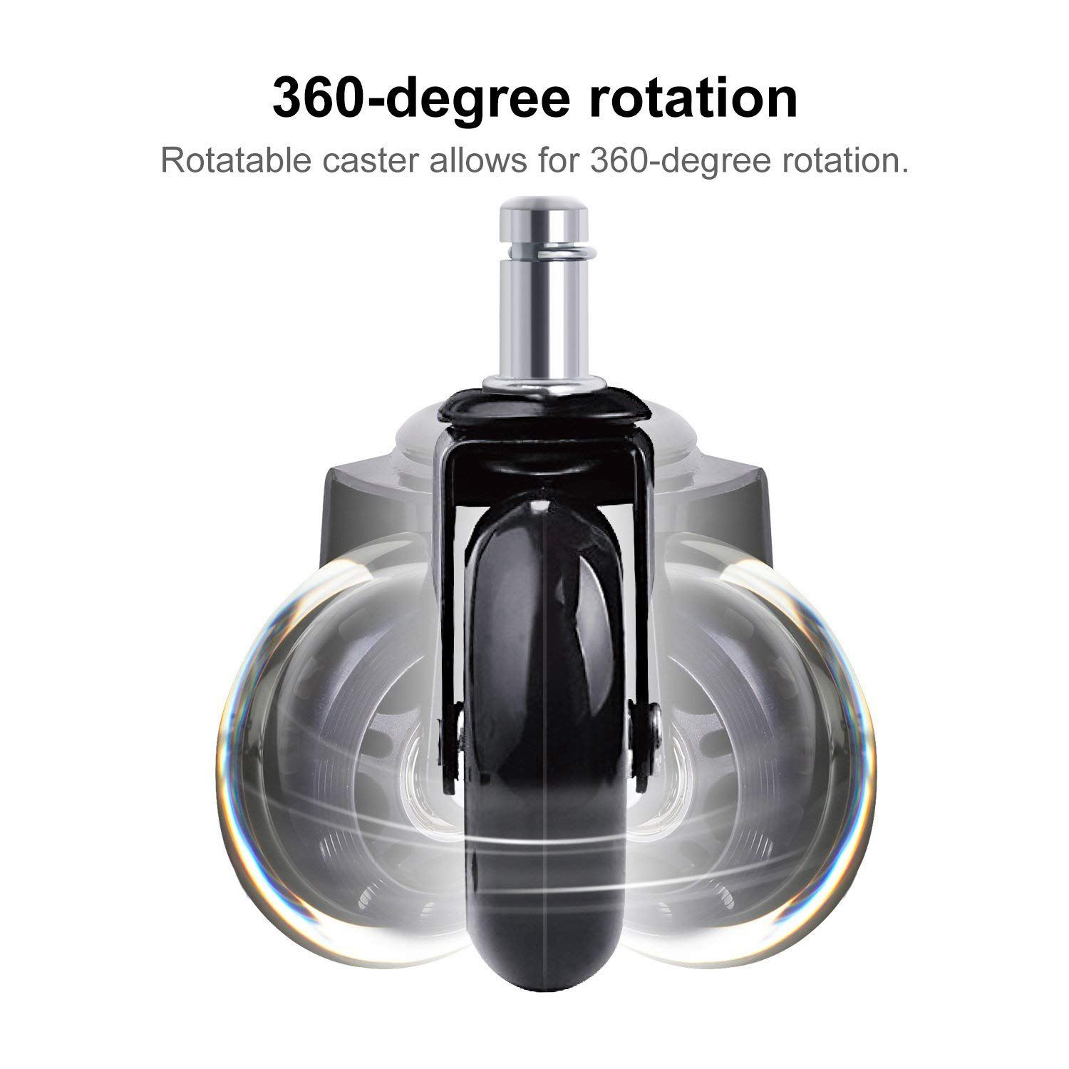 Image 4 - 5 PCs Black Office Chair Caster Wheels 2.5 Inch Swivel Rubber Caster Wheels Replacement Soft Safe Rollers Furniture HardwareCasters   -