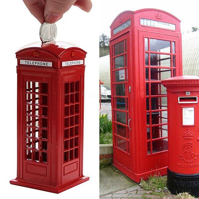 Metal Red British English London Telephone Booth Bank Coin Bank Saving Pot Piggy Bank Red Phone Booth Box 140X60X60Mm