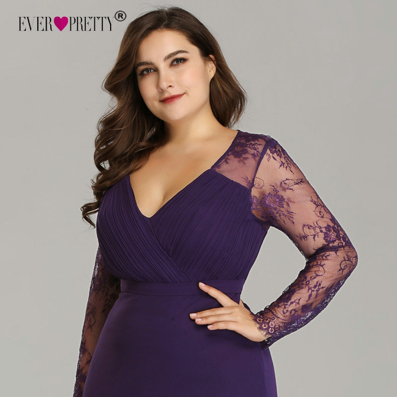 Image 5 - Elegant Plus Size Prom Dresses 2019 New Ever Pretty Purple Long Sleeve Lace A line Chiffon Long Party Gowns Robe De Soiree-in Prom Dresses from Weddings & Events