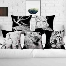 Black & White Animal Lion Tiger Elephant Throw Pillow Case Sofa Bed Cushion Cover Home Decor 45cm 3D Digital Printed Pillowcase