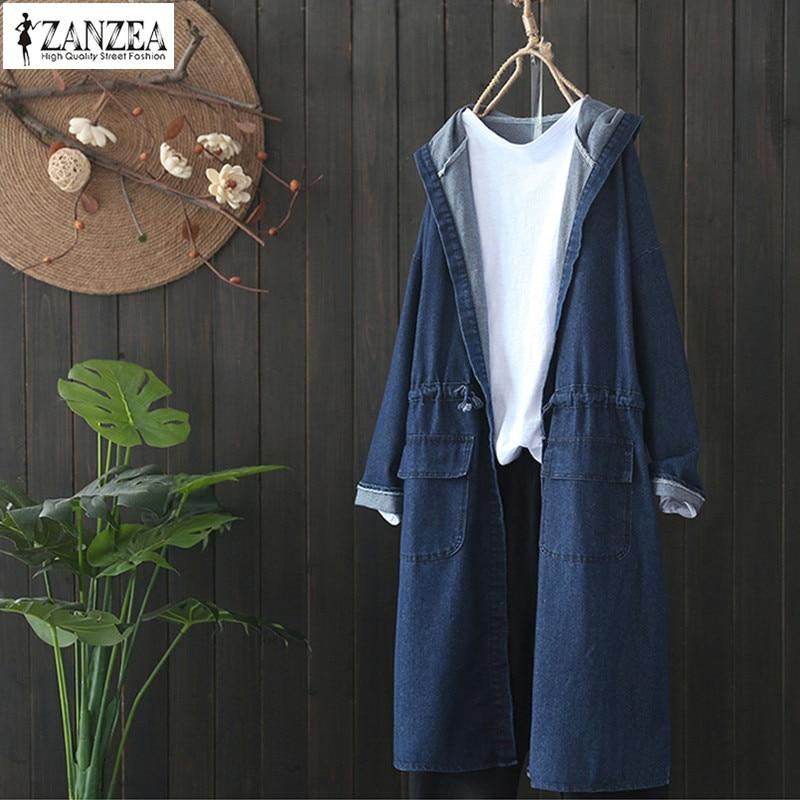 ZANZEA 2019 Spring Women Casual Denim Blue Drawstring Hooded Coat Jean Jackets Female Long Sleeve Top Oversized Outwear Cardigan