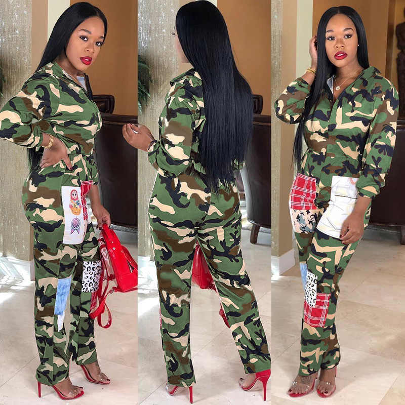 Military Cargo Jumpsuit Camouflage Women Zip Up Romper Long Sleeve Pants Baggy Female Retro Overalls Harajuku Streetwear Winter