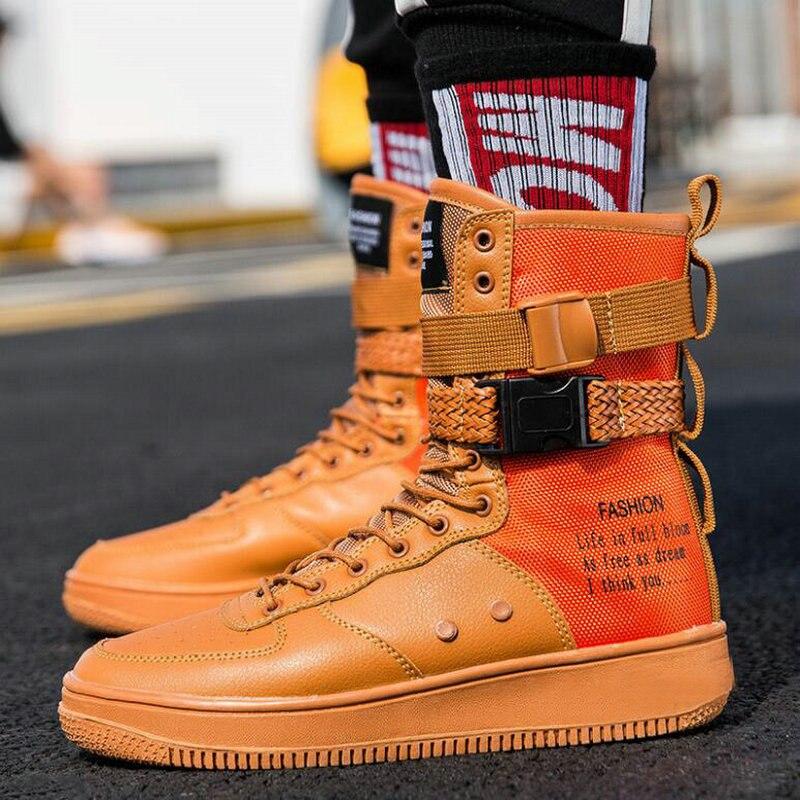 De Sapatos laranja Moda Apartamentos Botas Preto Novos Sapatilha vermelho Altas Hop Cesta Bezerro branco 856 Caminhada Masculina Casuais Superiores Homens Meados Sapatilhas Meninos Da Yx1w06