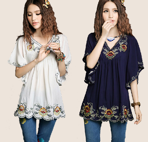 ea3be0f4532 New Summer 2019 Vintage Mexican Ethnic Flower Embroidery Boho Hippie  Butterfly Sleeve Blouse Cotton Top Vestidos gown for Women