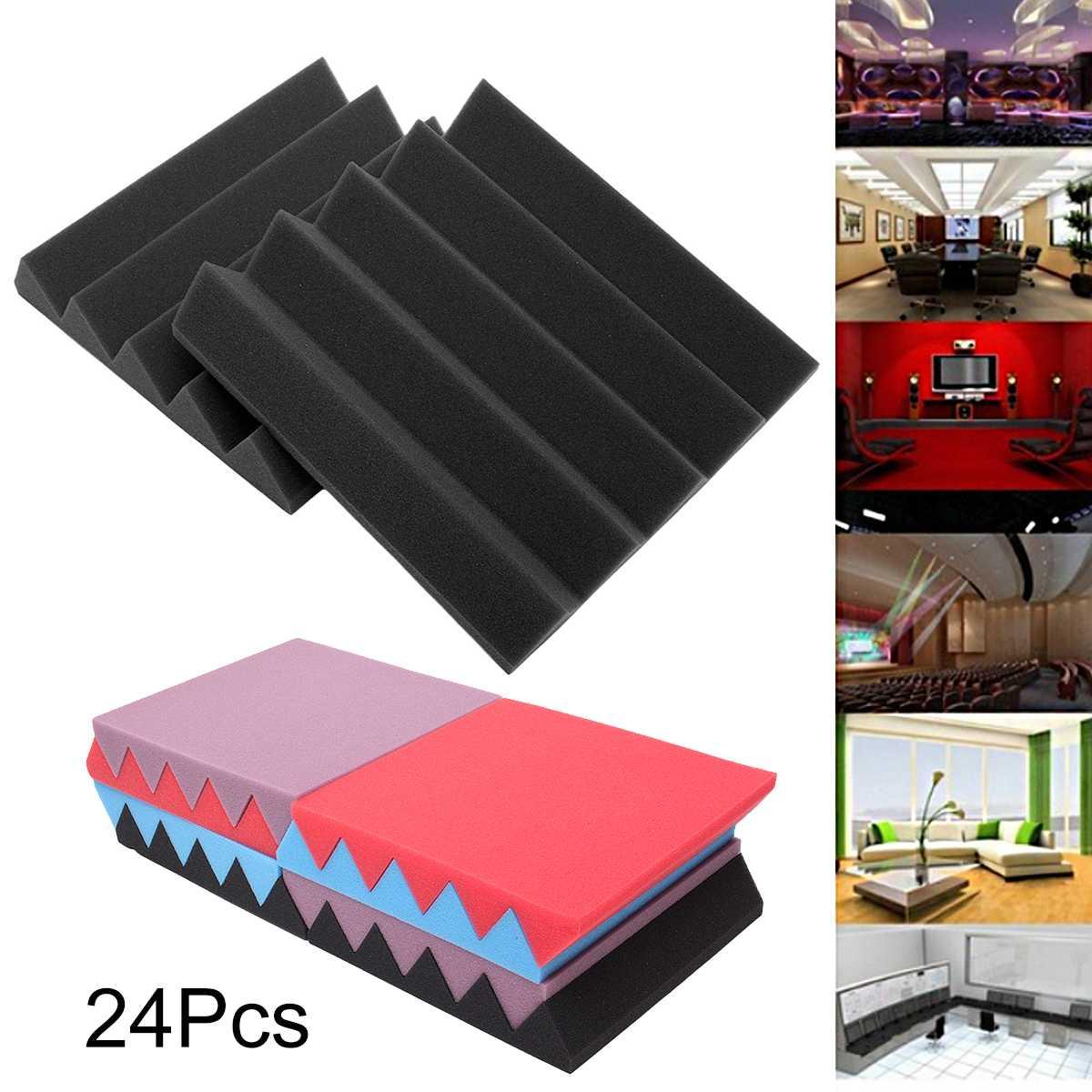 24pcs 25x25x5cm Soundproofing Foam Studio Acoustic Wedges Foam Tiles Sound Absorption Panels Studio Voice Speaker Accessories